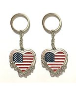 12pcs US American Flag Metal Key Ring Heart Key Chain Flower USA NYC Sou... - $14.99