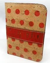 "Cork Fabric Notebook Cover with replaceable notebook Red Polka Dot 3"" x 5"" - $6.50"