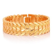 U7 Gold Color Heart Bracelet Jewelry Wristband 17MM 20CM Chunky Big Chai... - $17.15