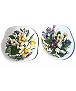 Pair Royal Stafford Flower English Porcelain Footed Soap Dishes   - $9.95