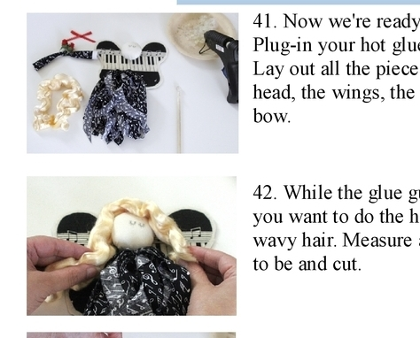 PDF Pattern for Rag Angels made from a fat quarter of fabric and scrap batting