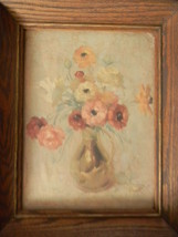 Oil Painting Still Life Floral . Signed - $150.00