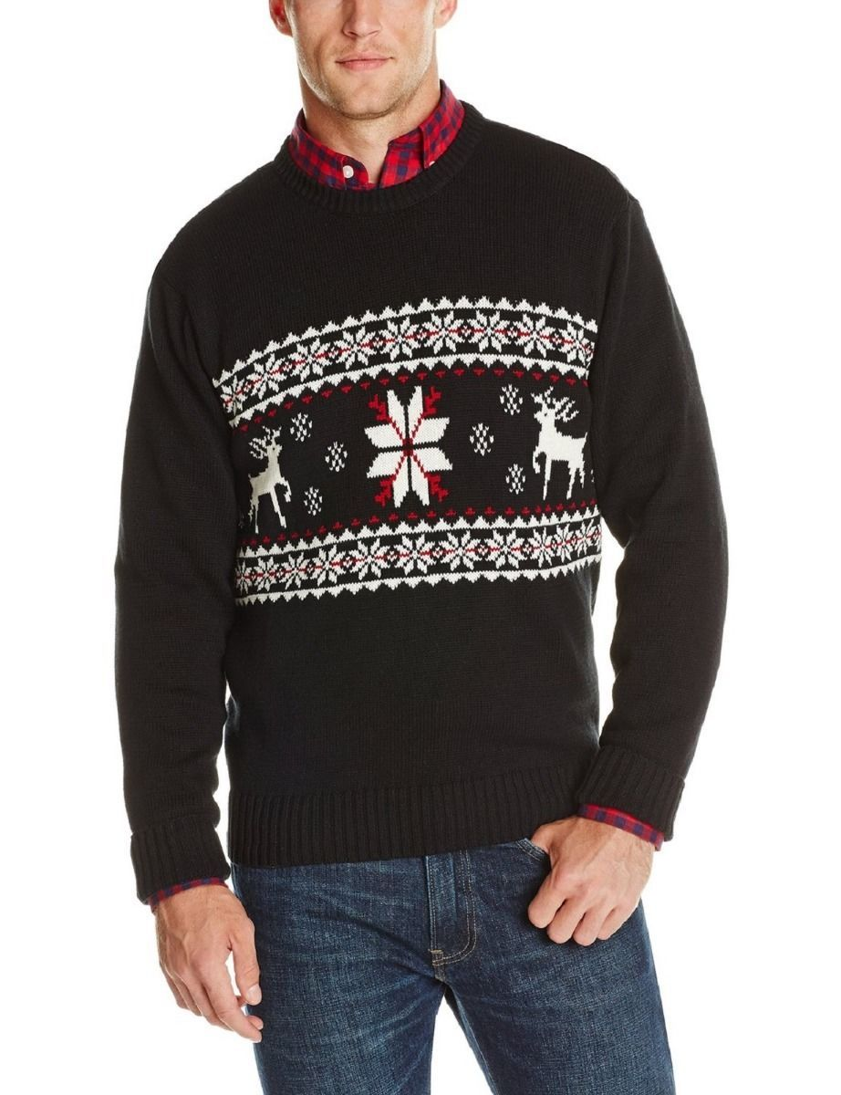 Primary image for $65 Dockers Levi Men Sweater 100% Cotton Fair Isle Ski Lodge Deer Red/Black NEW