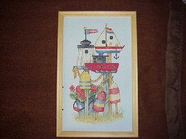 Finished/Framed Cross Stitch~Birdhouse Ships Picture 	Finish - $35.00