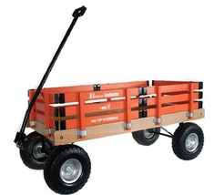 HEAVY DUTY LOADMASTER ORANGE WAGON - Beach Garden Utility Cart AMISH MAD... - $287.07