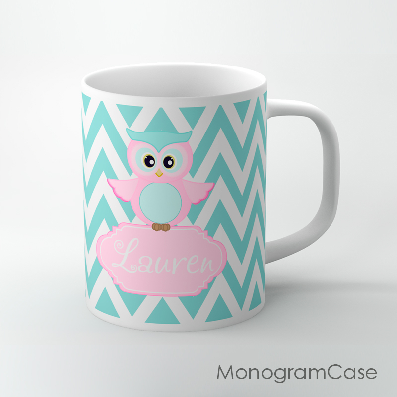Primary image for Baby blue chevron and soft pink owl print on a coffee mug, personalized tea cup