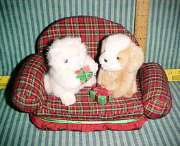Christmas Russ Kitty Cat-Puppy Dog sitting on red plaid sofa;Presents-St... - $9.99