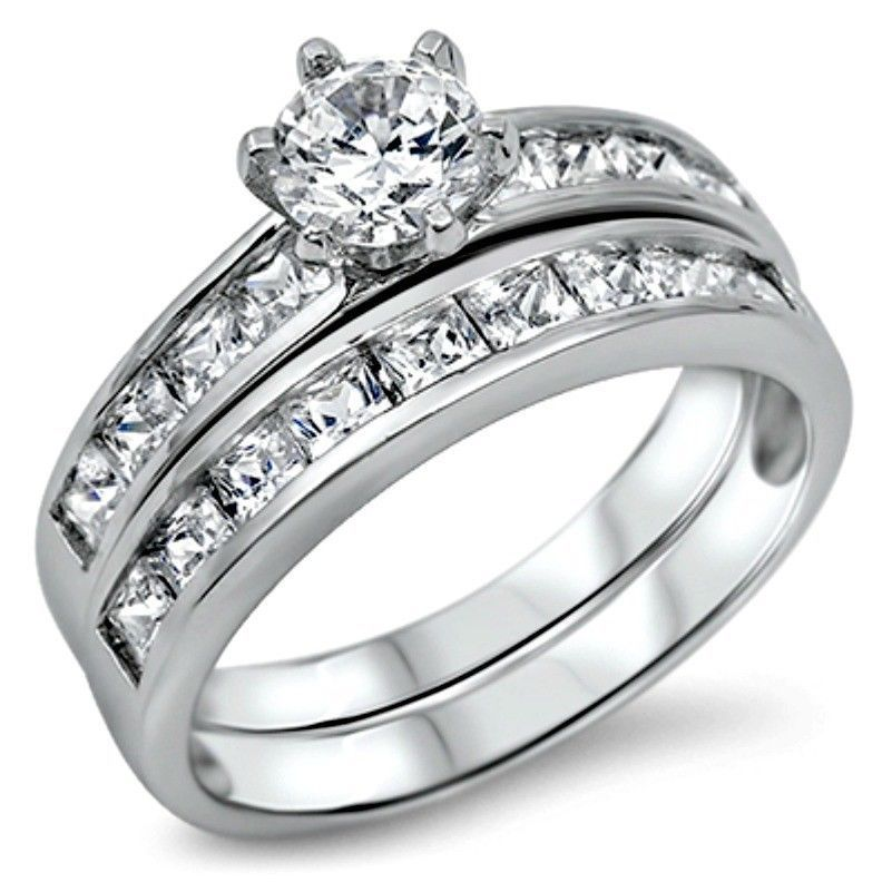 Primary image for Sterling Silver Wedding set size 9 CZ Round cut Engagement ring Bridal New w46