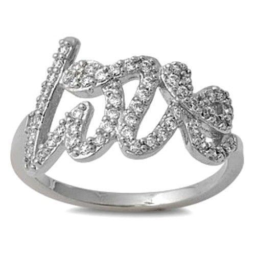 Primary image for Sterling Silver ring size 6 CZ Engagement Love Script Cursive Fashion New v58