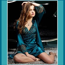 Teal Lace Silk Satin Dressing Night Gown and Matching Silk Satin Robe Set image 1