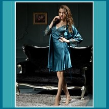 Teal Lace Silk Satin Dressing Night Gown and Matching Silk Satin Robe Set image 2