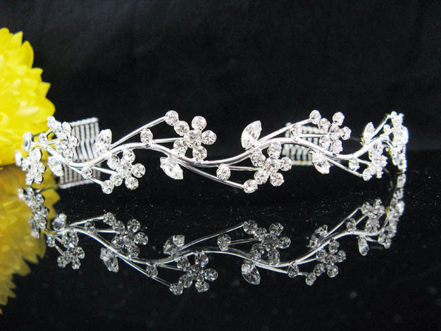 Primary image for CRYSTAL BRIDAL HEADBAND WEDDING TIARA;BRIDESMAID BAND FLORAL BRIDE TIARA 5305S
