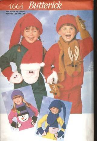 Butterick 4664 Childrens' Christmas Hat Scarf Gloves Pattern Sz S-L