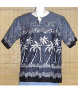 Bali Batik Dewa-Dewi Collections Hawaiian Pullover Gray Black Med - $17.95
