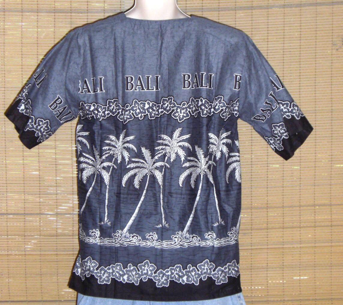 Bali Batik Dewa-Dewi Collections Hawaiian Pullover Gray Black Med