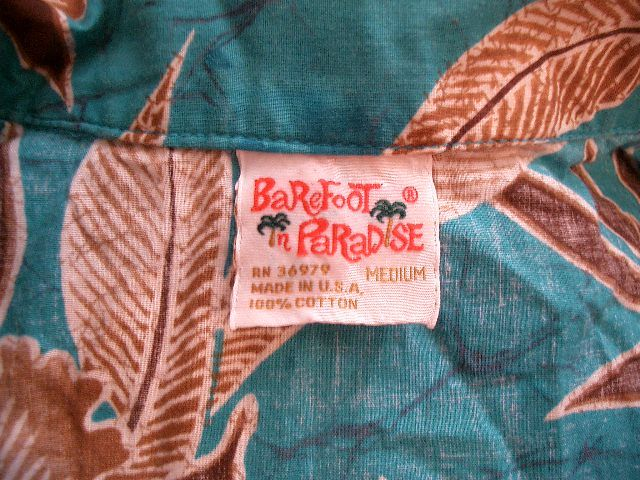 BAREFOOT IN PARADISE Hawaiian Shirt Turquoise Vintage 70s Size Medium