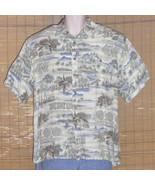Campia Moda Hawaiian Shirt White Blue 1950s Medium - $21.95