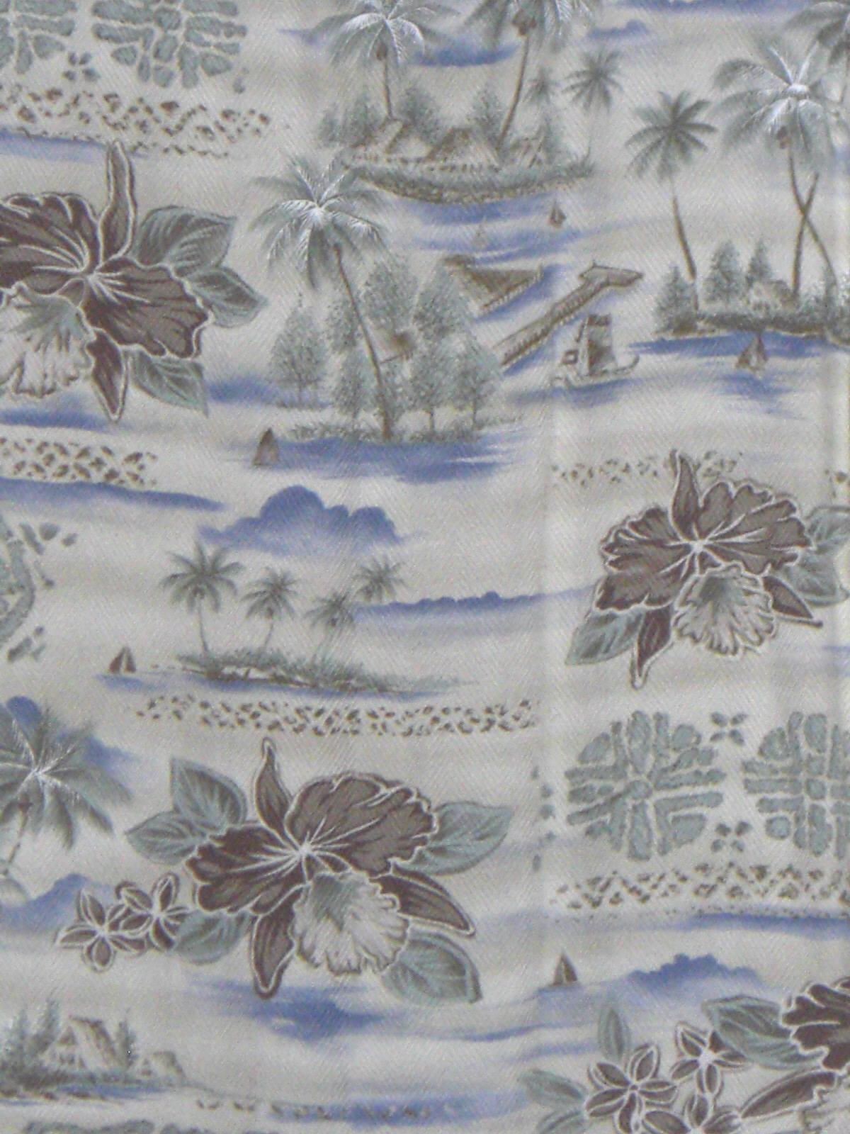 Campia Moda Hawaiian Shirt White Blue 1950s Medium