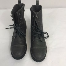American Eagle Womens Gray Faux Leather Combat Boots Size 7 Lace Up Side Zipper - $21.68