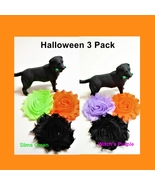 Halloween Flowers for dog collars, Autumn cat charm, Orange Black Purple... - $11.00