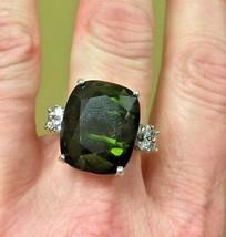 New Estate 21ct green Tourmaline, Diamond14k white gold engagement ring ... - $9,899.00