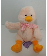 Russ Target Peach pink Groovy duck chick Plush Sitting pink bow orange feet - $14.84