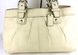 Auth COACH Ivory White Leather Tote Double Chamber Shoulder Bag Good Condition - $141.61