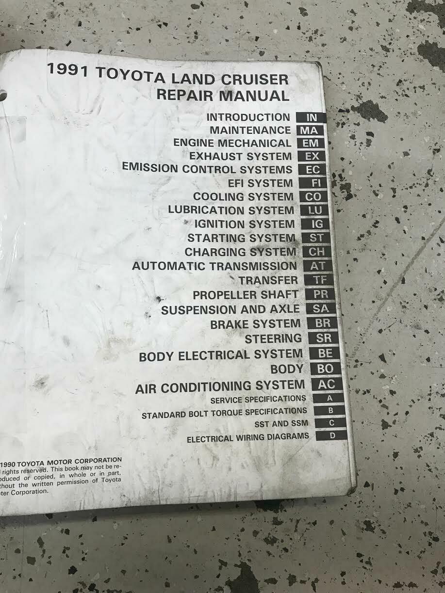 1991 Toyota Land Cruiser Service Shop Reparatur Manuell Set OEM W Mitchells BK