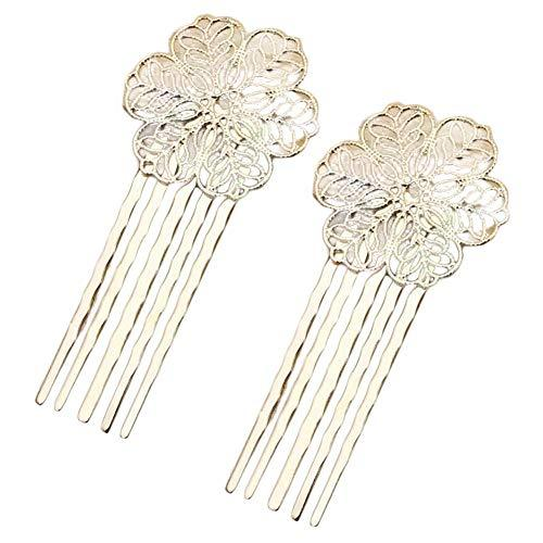5 Pcs Hair Comb Metal Hair Clip Flower 5 Teeth Side Comb Decorative Comb, KC Gol