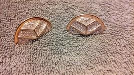 Vintage Monet signed gold tone/rhinestone half circle gorgeous pierced e... - $21.99