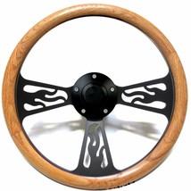 1974 -1994 GMC Pick Up, Van Steering Wheel Oak Wood & Flames Black Billet - $170.99
