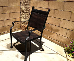 7 Piece Outdoor Wicker Patio Dining Chair Set Propane Fire Pit Table Aluminum image 4