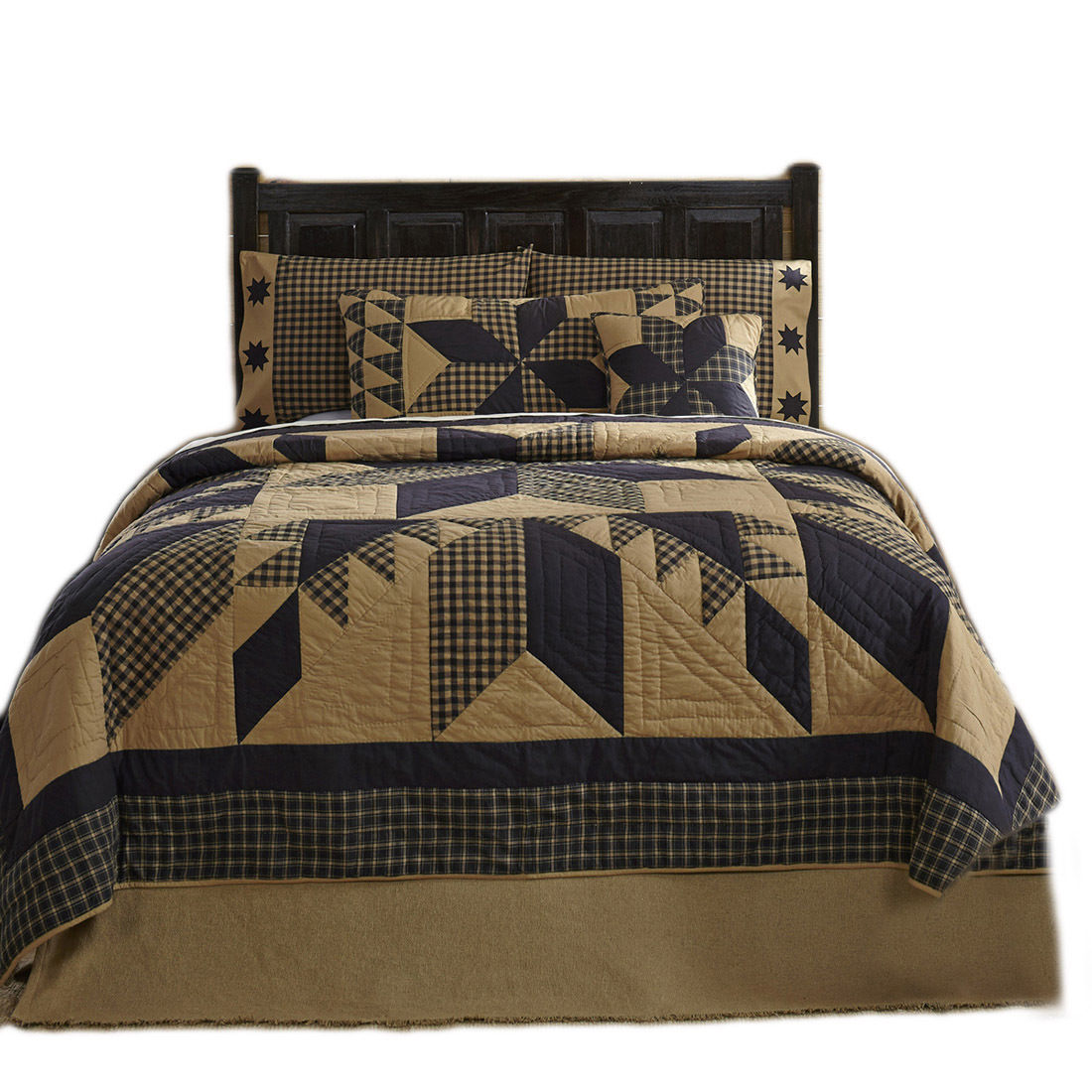 3-pc King - DAKOTA STAR Quilt and Shams Set - Rustic Black and Tan - VHC Brands