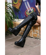91B014 Lady's over-the-knee boot, genuine leather, size 4-8.5, black - $98.80
