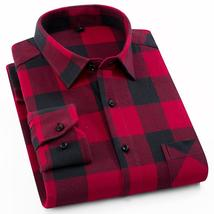 Men's 100% Cotton Casual Plaid Shirts Pocket Long Sleeve Slim Fit Comfor... - $51.96