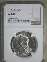 1963-D FRANKLIN HALF DOLLAR - NGC CERTIFIED - MS 64.  20200170 - $29.99