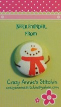 Snowman Red Scarf Needleminder fabric cross stitch needle accessory - $7.00