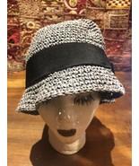 Vintage Style Gray Black Flower Woven Fedora Hat - $36.20