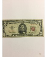 1963 $5.00 dollar red seal note old bill cirulated on sale no holes - $13.78