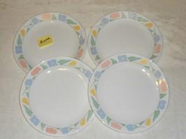 4 Corning Corelle FRIENDSHIP Dinner Plates 10.25 inch Pastel Tulips - $16.82