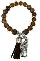 Giraffe Brown Glass & Semi Precious Stone Beaded Tassel Stretch Bracelet Jewelry - $15.83