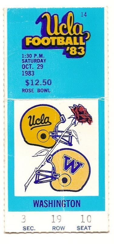 Primary image for 1983 Oct 29th Ticket Stub UCLA vs Washington NCAA College Football