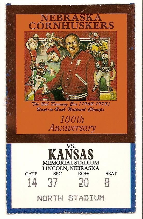 Primary image for 1989 Nov 11th Ticket Stub Kansas @ Nebraska NCAA College Football