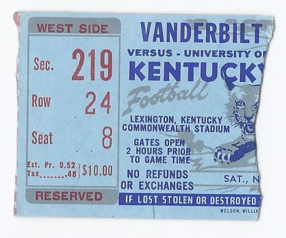 Primary image for NCAA Football Ticket Stub Vanderbilt @ Kentucky Commonwealth Stadium Nov