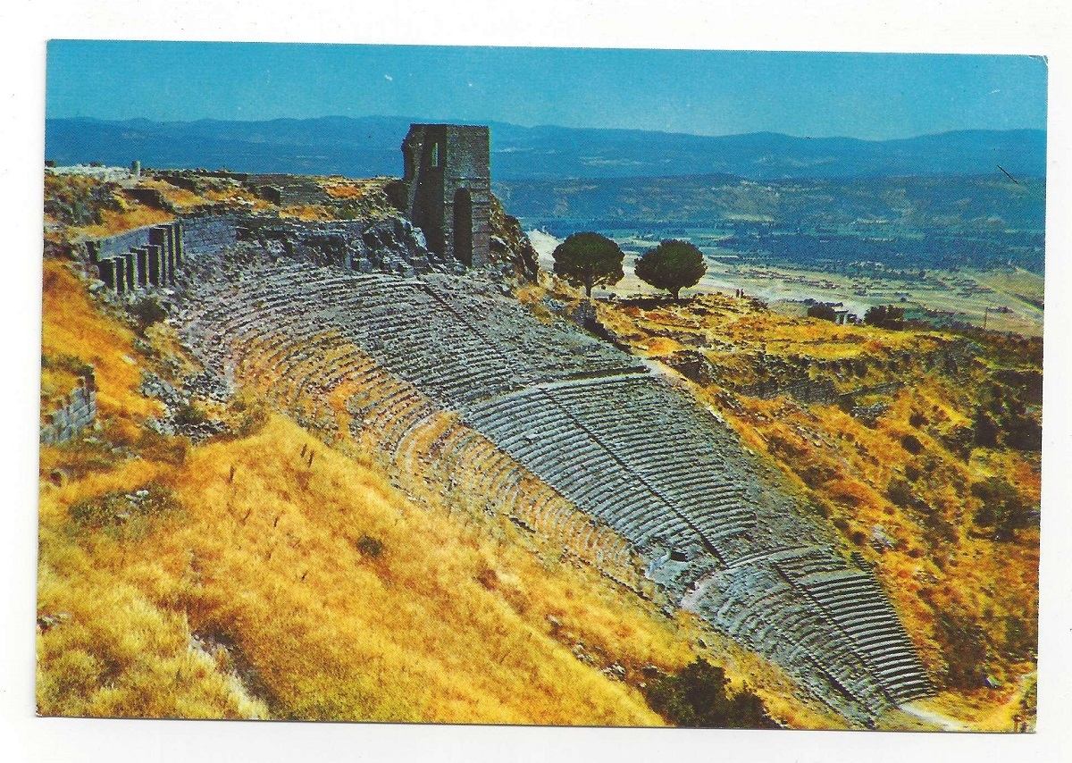 Primary image for Turkey Bergama Izmir Acropolis Theatre Greek Ruins Vtg Postcard 4X6