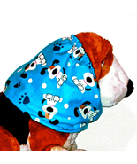 Dog Snood Blue Cotton Flannel Long Eared Pups Pawprints Cavalier Puppy S... - $11.00
