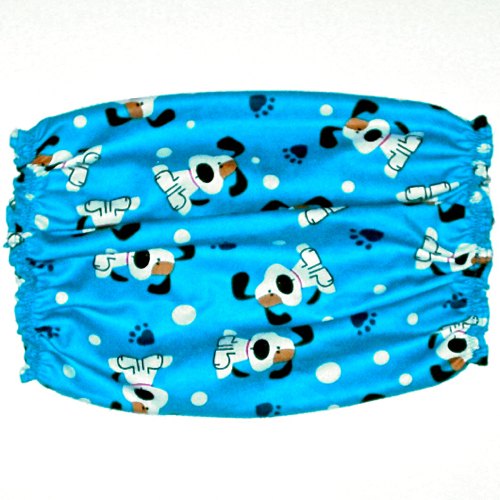 Dog Snood Blue Cotton Flannel Long Eared Pups Pawprints Cavalier Puppy SHORT