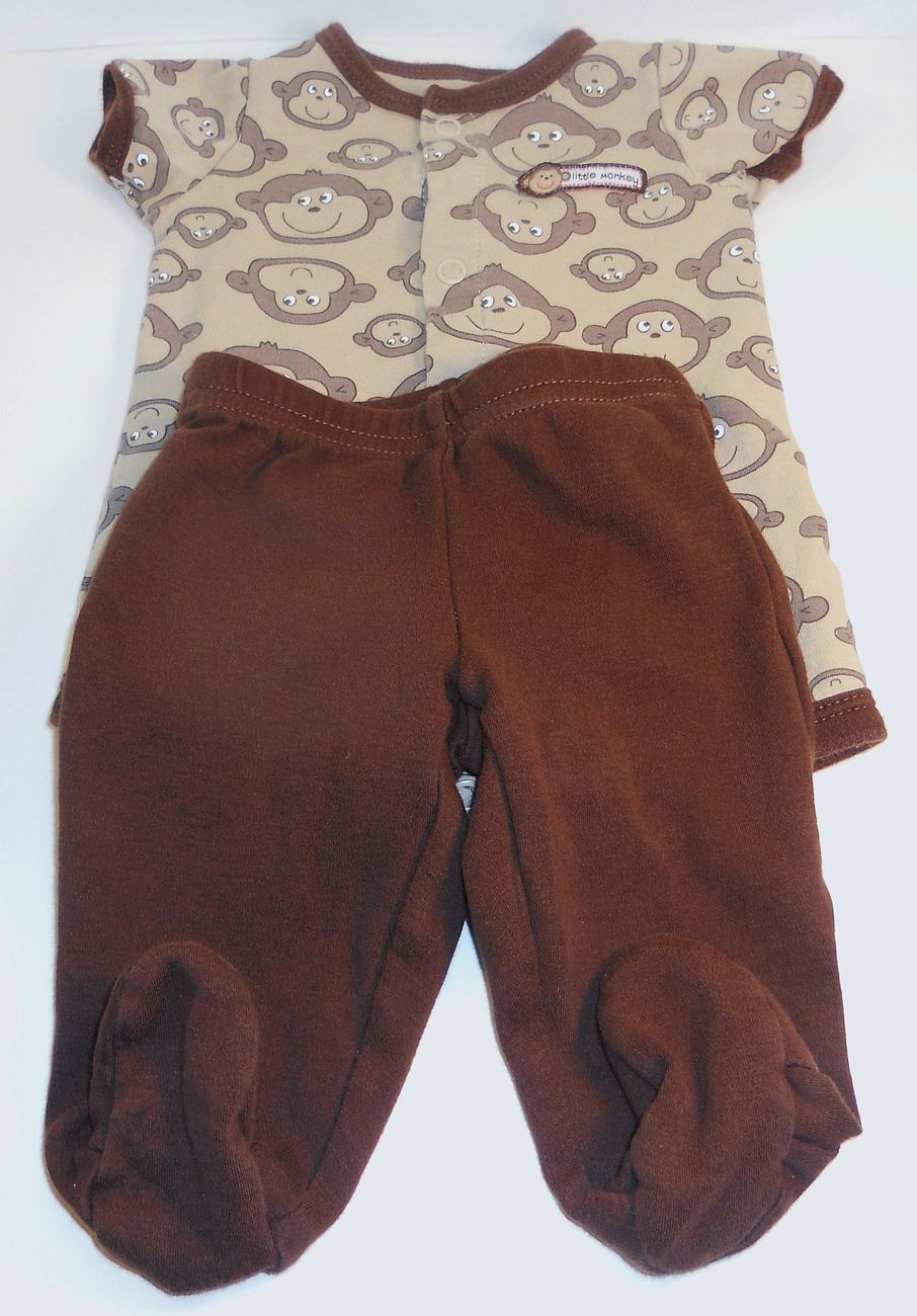 Primary image for Carters Little Monkey brown onesie footie pants outfit New Born