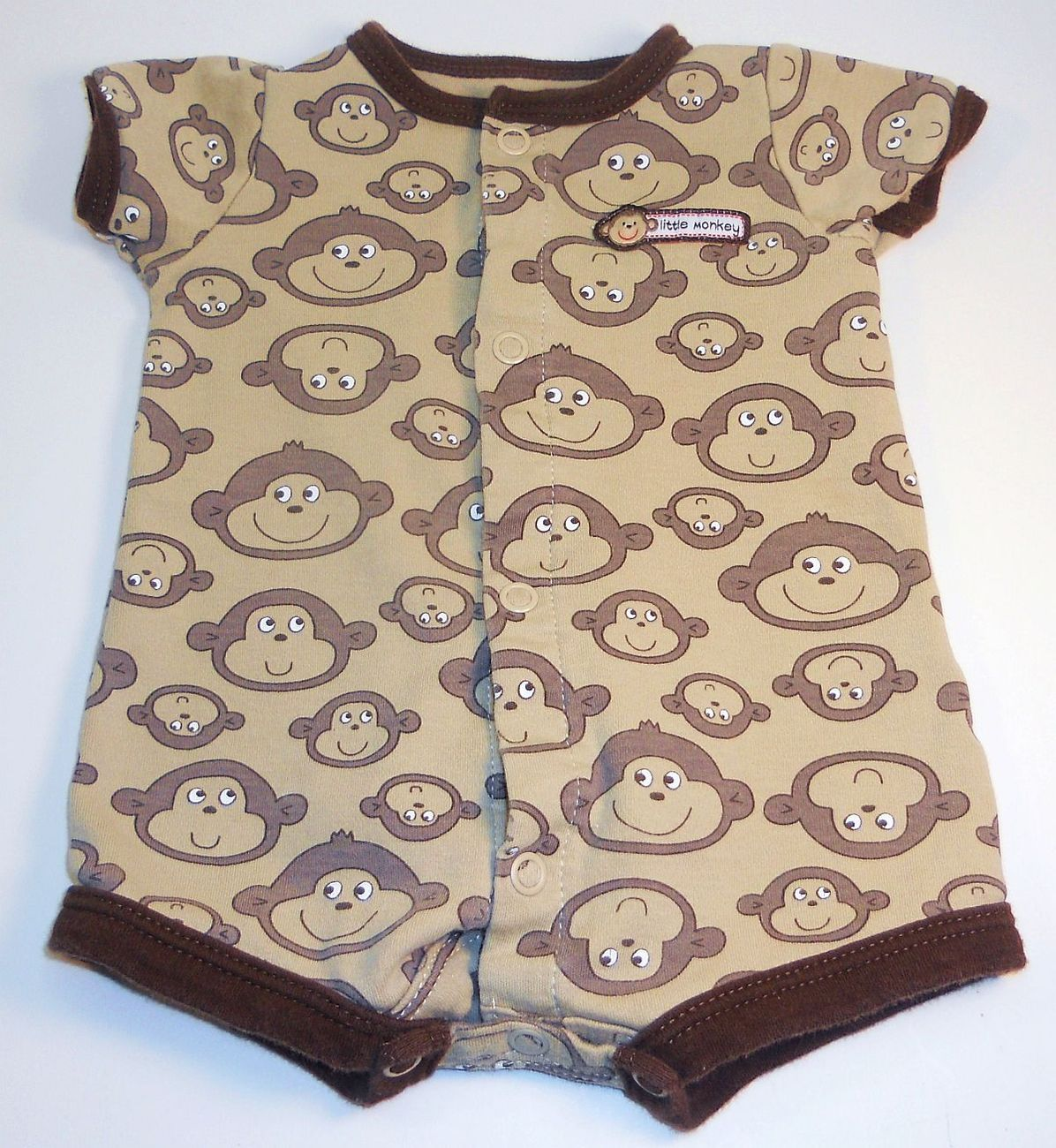 Carters Little Monkey brown onesie footie pants outfit New Born