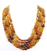 5 Strands of Hessonite Garnet Traditional Necklace of India hand made 31... - $257.00